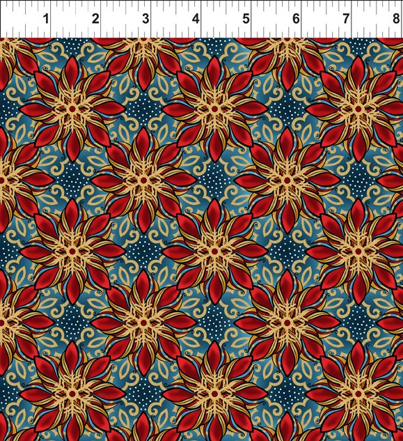 In The Beginning Fabrics 5ACW-1M CELESTIAL WINTER BLUE Metallic Poinsettias Red Poinsettias Quilt Fabric Jason Yenter Gold Metallic