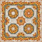 Our Autumn Friends Kaleidoscope Wallhanging Kit (Pattern included)