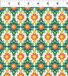 Strawberry Festival Teal Flower Tiles