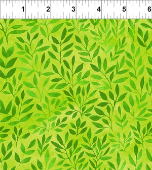 Floral Menagerie Leaves Green