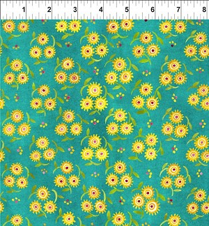 Hey Diddle Diddle Teal Flower Trios