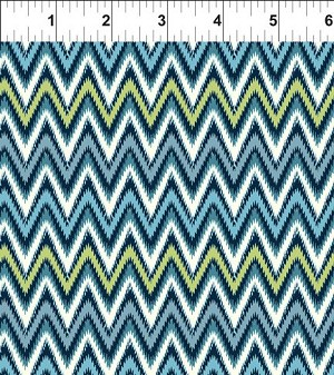 Mini Ikats Teal Zigzag